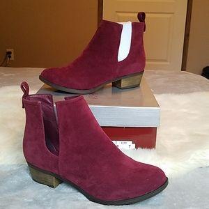Burgundy suede ankle booties